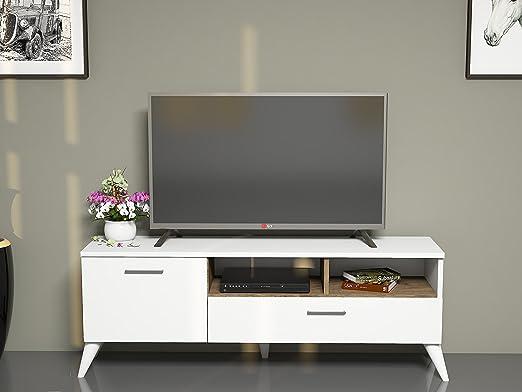 SINBA Mueble salón comedor para televisión con 2 puerta y estante - Blanco / Nogal - Mueble bajo para televisor - Juego de muebles de salón - Mesa de Televisión en diseño elegante: Amazon.es: Hogar