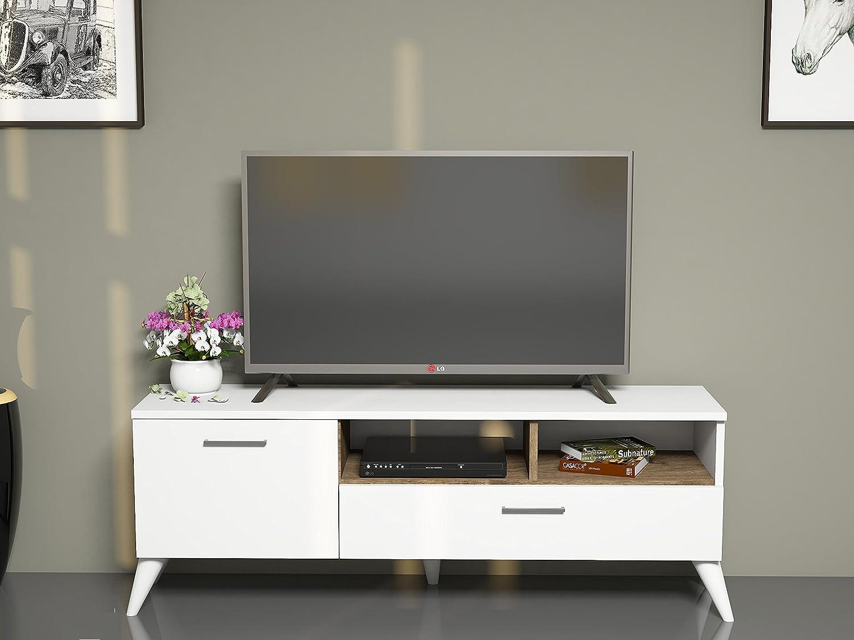 Set Soggiorno CATERINA Bianco & Noce - Porta TV - Lowboard con mensole a muro in un design moderno Homidea