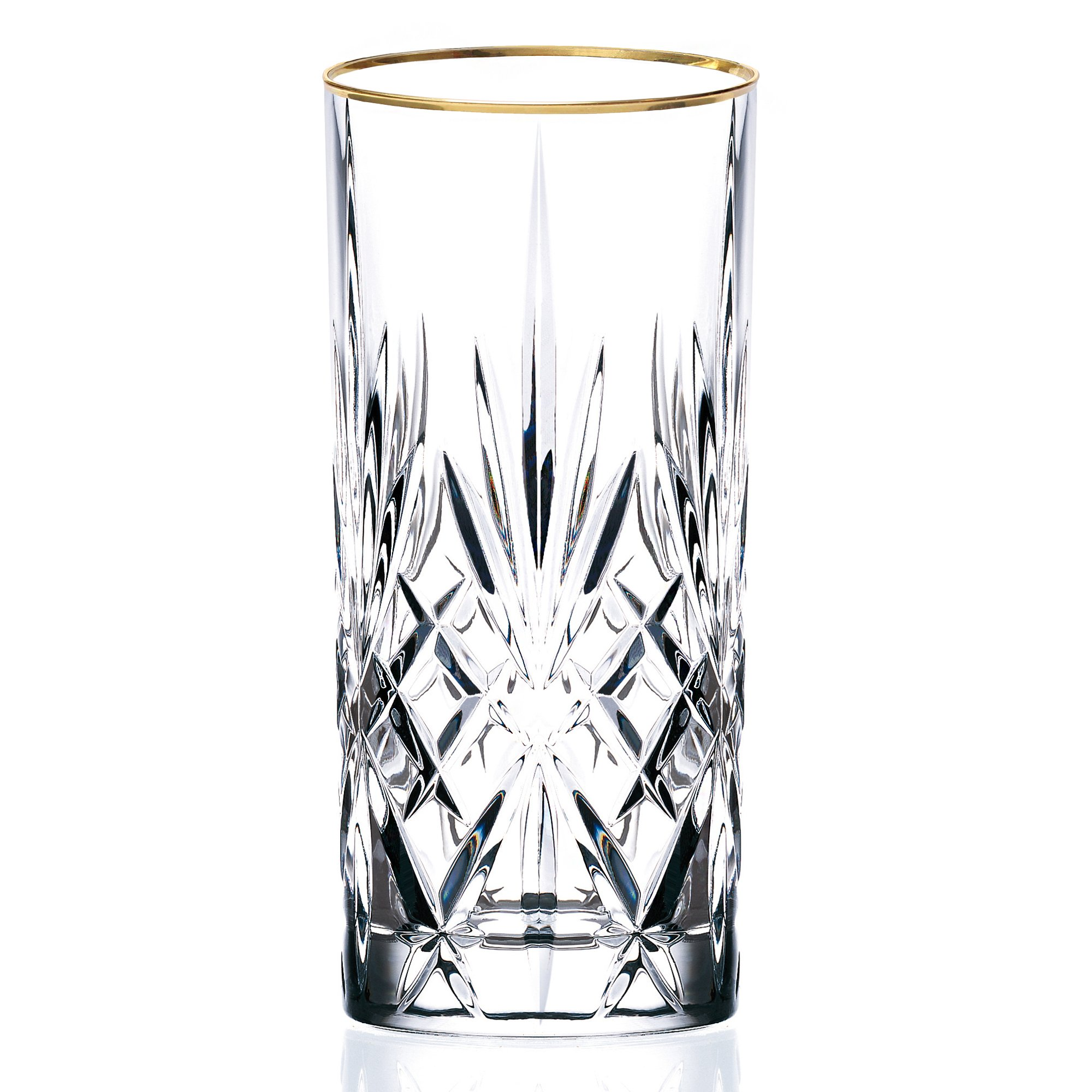 Lorren Home Trends Siena Collection Crystal Water Beverage or Ice Tea Glass with Gold Band Design, Set of 4