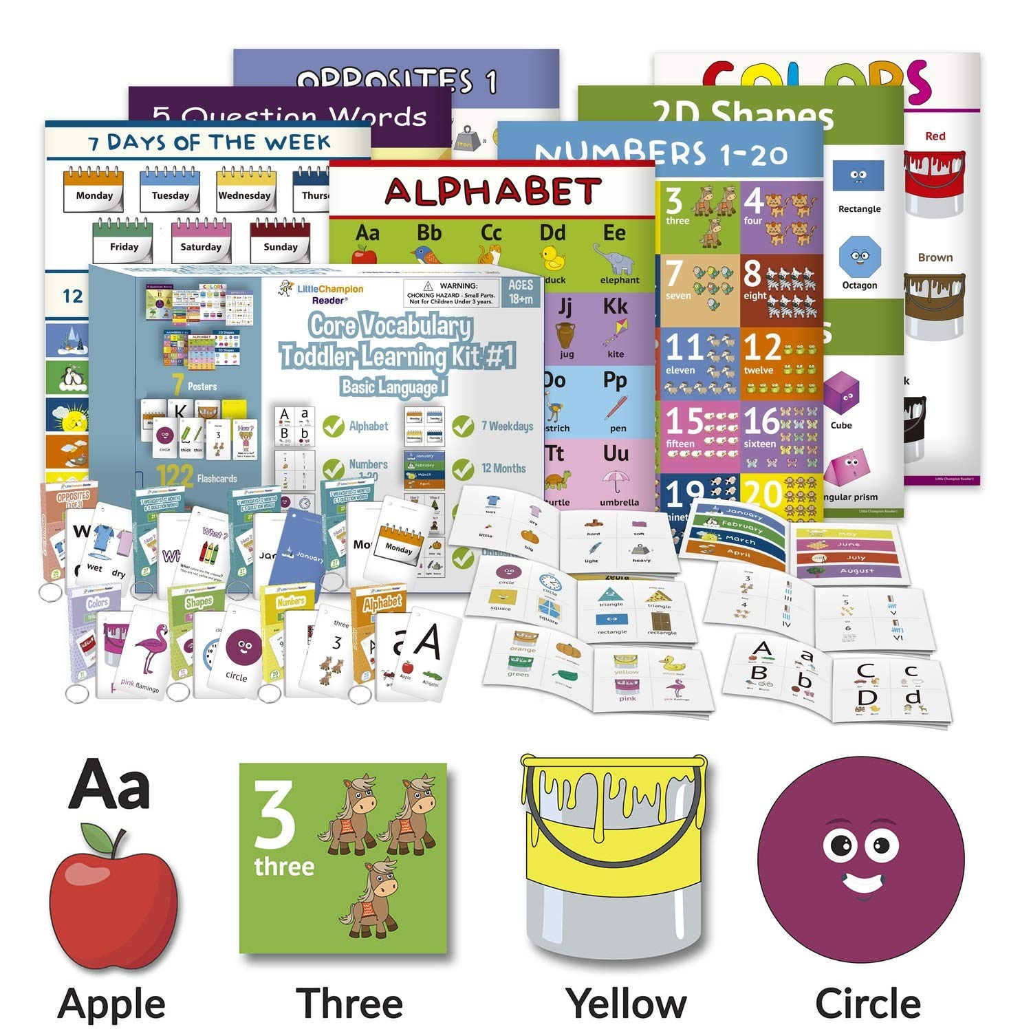 Little Champion Reader Teach Core Vocabulary Toddler Learning Kit 1 - Learn Alphabet, Letters, Number 1-20, Shapes (2D & 3D), Colors, 7 Weekdays, 12 Months, Question Words and Opposite Pairs (7-in-1) by Little Champion Reader