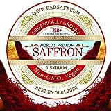 Redsaff Afghan Saffron Threads, 250 + Color Reading Non GMO, Vegan, 1.5 Gram