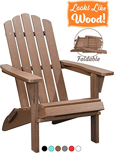 PolyTEAK Classic Folding Poly Adirondack Chair, Walnut Brown Adult-Size, Weather Resistant, Made from Special Formulated Poly Lumber Plastic