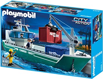 Playmobil 5253 Frachtschiff Mit Verladekran Amazon De Spielzeug