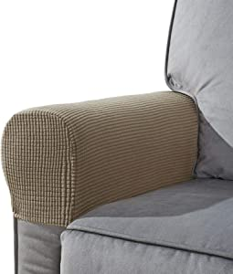 CHUN YI Set of 2 Stretch Polyester Sofa Armchair Armrest Covers Slipcovers Furniture Protector Spandex Fabric Jacquard Anti-Stain Washable Couch Arm Cover Slipcover (Armrest, Sand)