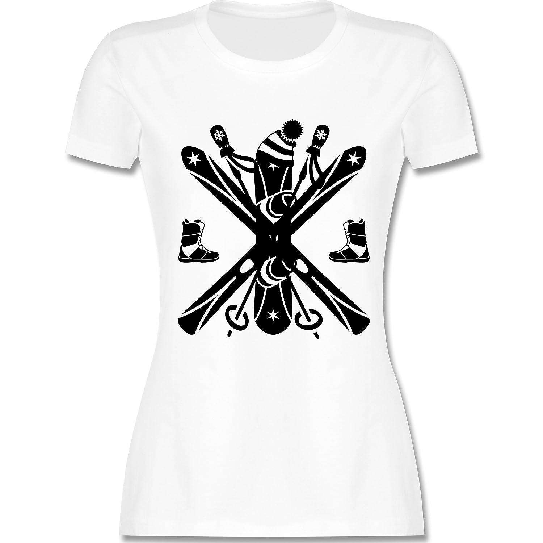 Wintersport - Ski Snowboard Wintersport - tailliertes Premium T-Shirt mit Rundhalsausschnitt für Damen
