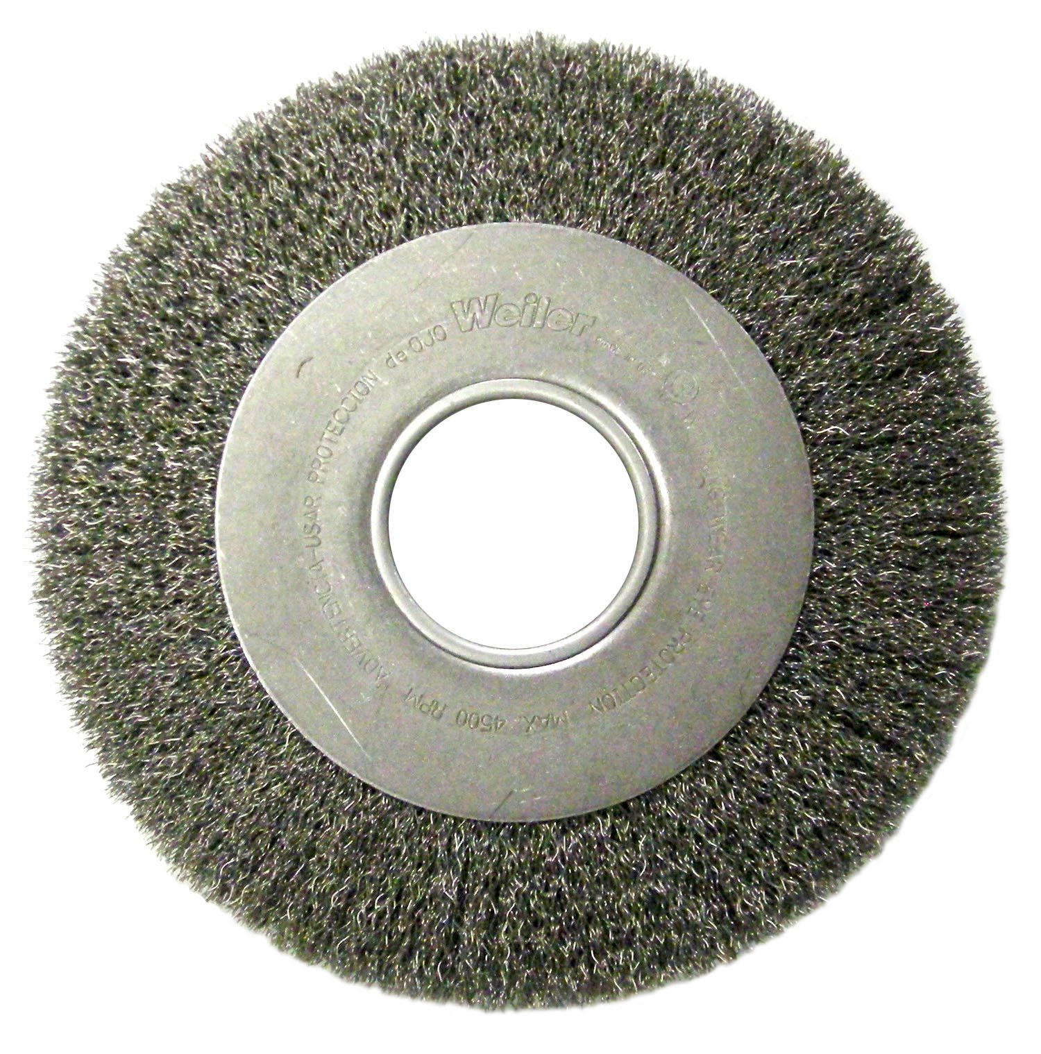 Weiler 6490 Face Crimped Wire Wheel, 8'' Medium, 0.118'' Stainless Steel Fill, 2'' Arbor Hole