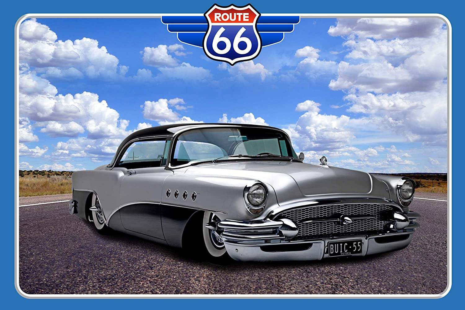1955 Buick Century, Road Trip Route 66 Detroit :: American Vintage Classic Cars Poster