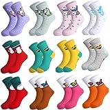 Rovtop 12Pares Calcetines de Niñas, Calcetines de Algodón para Niños de 5 a 10 Años, Calcetines Navideños de Animados…