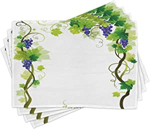 Ambesonne Vineyard Place Mats Set of 4, Vineyard with Swirled Leaves Freshness Fruit Garden Harvest Season Wine Growth Theme, Washable Fabric Placemats for Dining Table, Standard Size, Green Purple