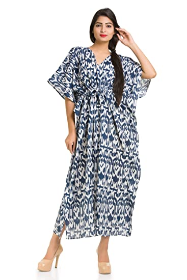 da009acc0194c0 Handicraft-Palace Women's Cotton Caftan (KL-71, Blue, 50): Amazon.in:  Clothing & Accessories