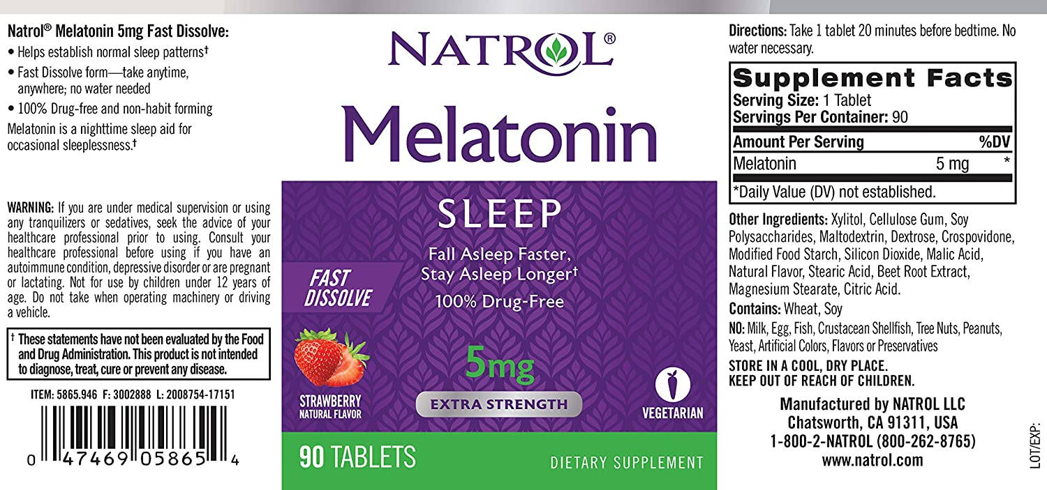 Amazon.com: Natrol Melatonin Fast Dissolve Tablets, Strawberry Flavor, 5mg, 250 Count: Health & Personal Care