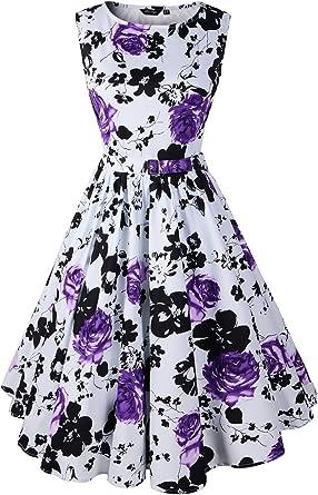TM Ladies Vintage 1950s Sleeveless Rose Print V-Neck Sling Cocktail Evening Swing Party Dress A Line Elegant Dress Vintage Hepburn Dress for Women,Colorful
