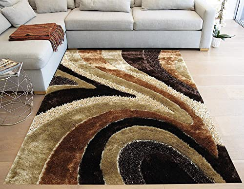 Rolex Home Shimmer Shag Gold Beige Brown Area Rug Carpet, Hand-Tufted, Hand Made 8 ft x 10 ft Signature 70 Brown