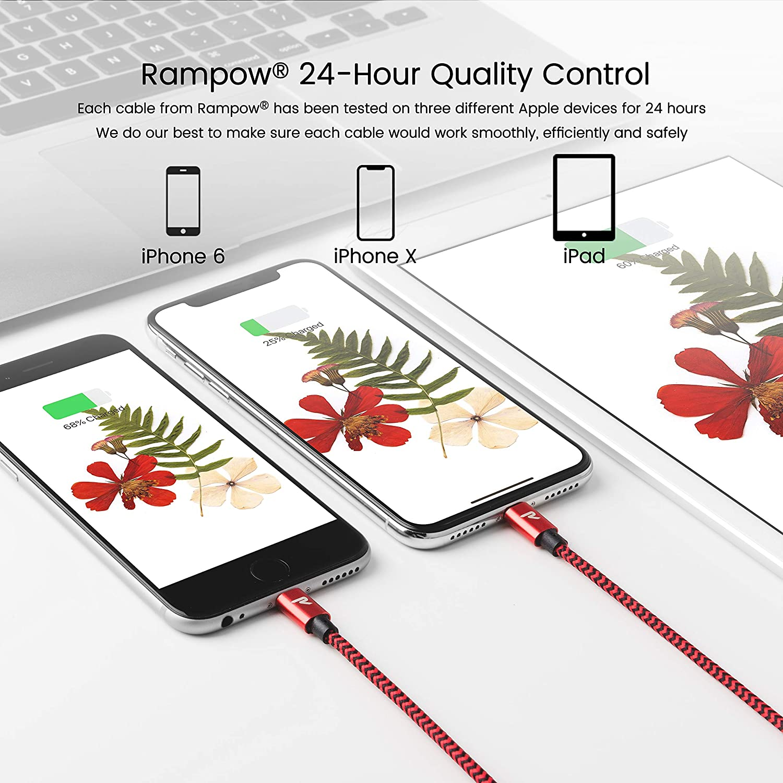 Chargeur iPhone avec Connecteur R/ésistant pour iPhone XS//XR//X//8//7//6s//6-1m//3.3ft C/âble iPhone Rampow MFI certifi/é Apple Or Rose C/âble Lightning vers USB en Fibre de Nylon Tress/é