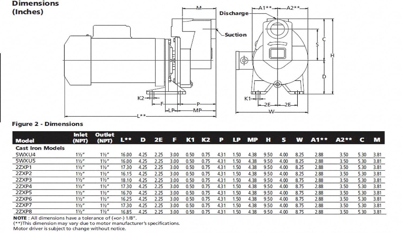 Dayton 2ZXP2 Centrifugal Pump, 3/4 HP, 3 Ph, 230/460V ... on