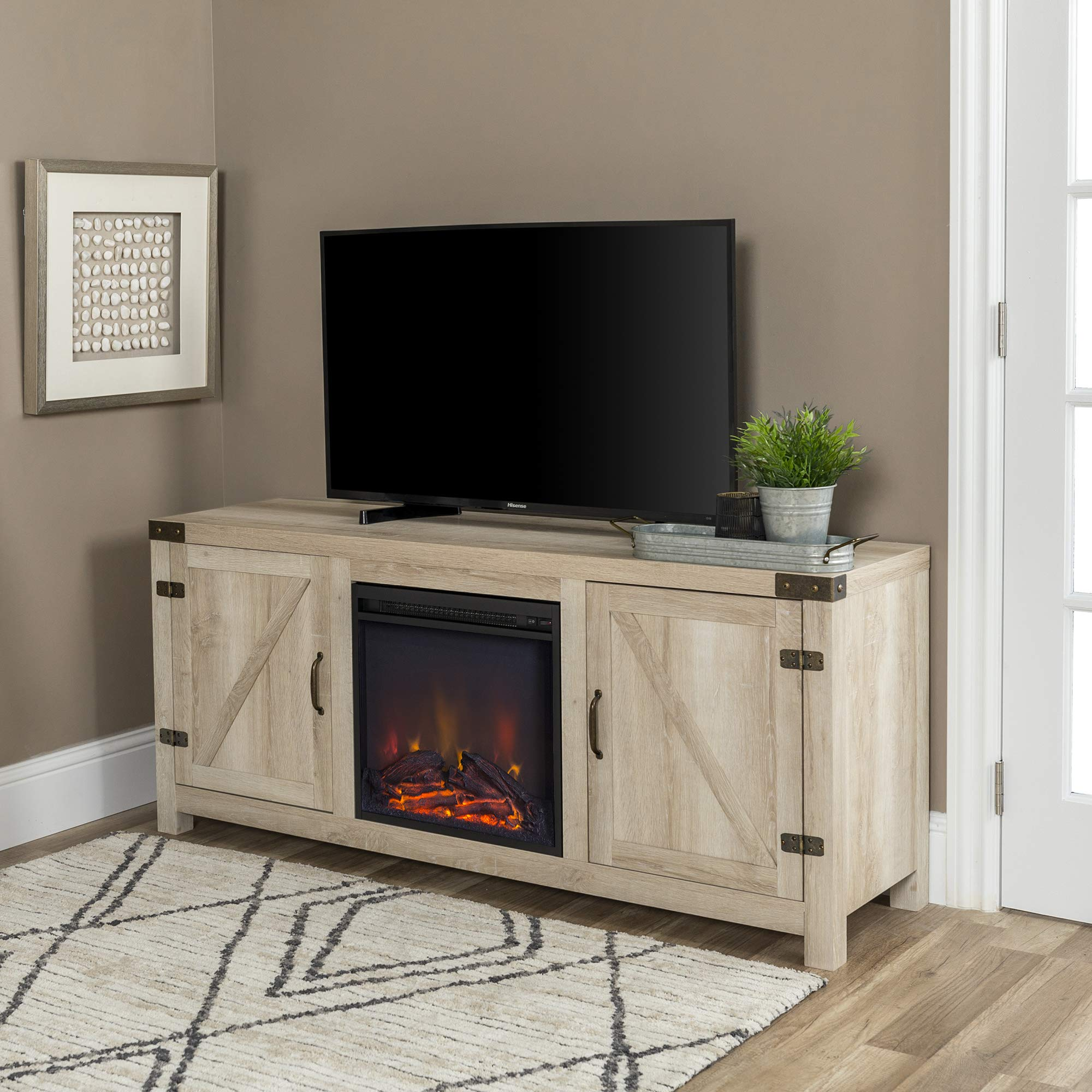 WE Furniture Farmhouse Barn Door Wood Fireplace Stand for TV's up to 64'' Living Room Storage, 58'', White Oak by WE Furniture