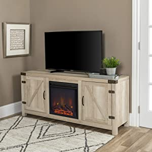 "WE Furniture AZ58FPBDWO Fireplace TV Stand, 58"", White Oak"