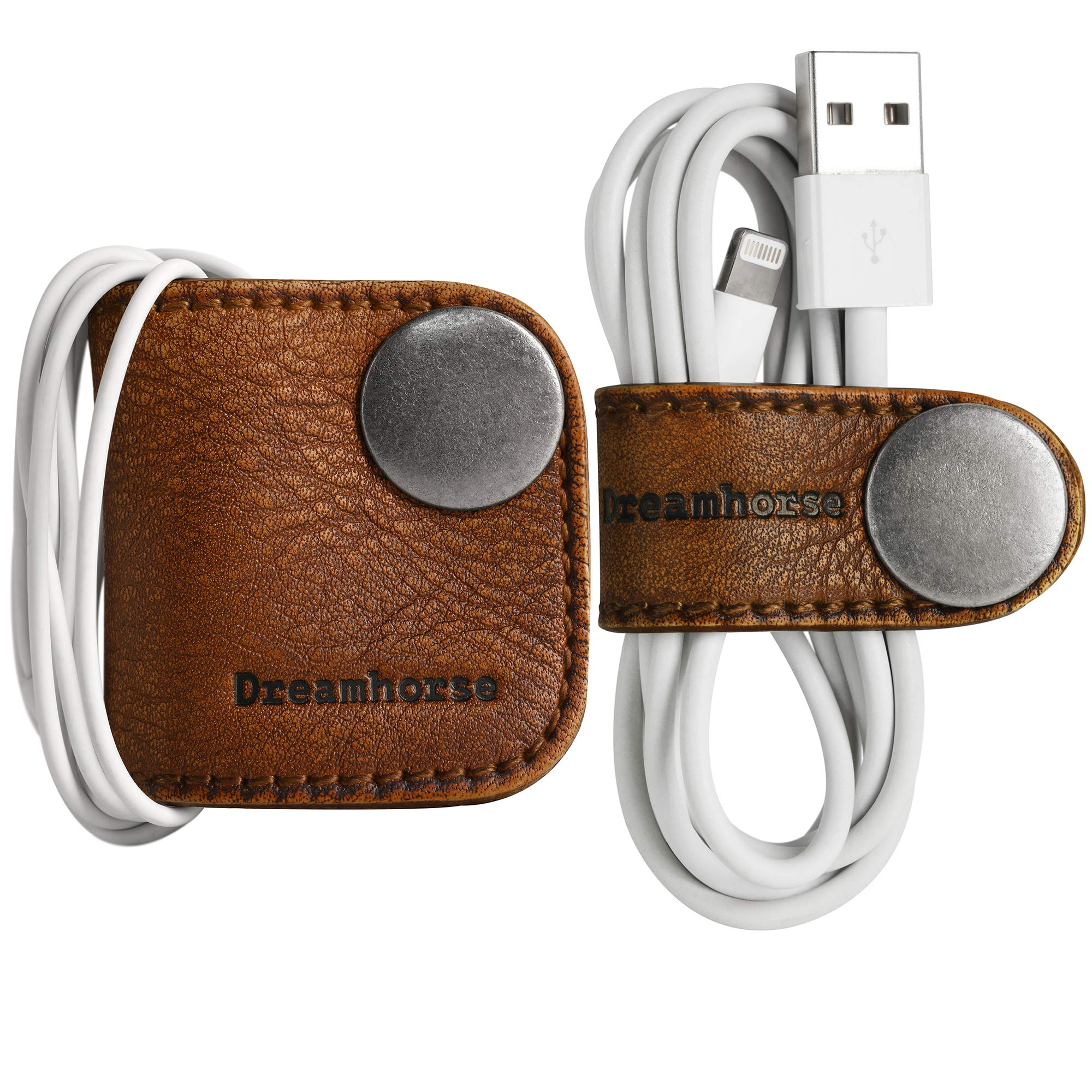 Cord Winder Cord Organizer Earbud Holder Earphone Wrap Earphone Organizer Headset Headphones Earphone Wrap Dreamhorse's Handmade Leather Protection Headphone Cable Pack of 2 Brown