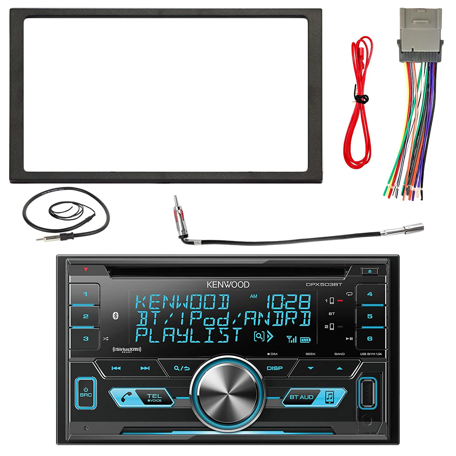 Kenwood Dpx502bt 2 Din Bluetooth Cd Mp3 Reciever With Boss Radio Bv9364b Wiring Harness Metra Installation Kit Wire And Enrock 22 Inch Antenna Car Electronics