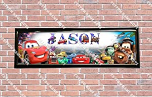 Personalized Customized Disney Car Movie Poster With Frame, With Your Name On It, Party Door Poster, Room Art Decoration, Wall Decor