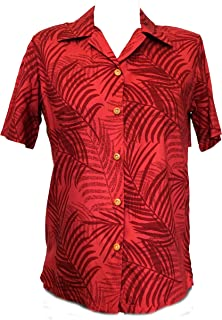 product image for Paradise Found Women's Palm Tree Leaf Aloha Shirt, Red, XS