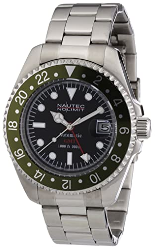 8901f40558d Nautec No Limit Men's Deep Sea Watch DS AT-GMT/STSTGRBK: Amazon.co.uk:  Watches