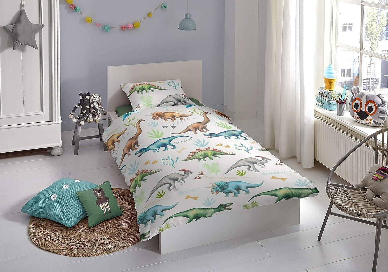 Aminata Kids Kinder Bettwasche 135x200 Cm Dinosaurier Dino