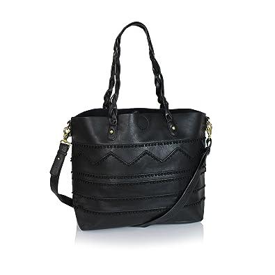 Amazon.com  Boho Artisan Vegan Leather Large Shoulder Bag Vintage Messenger  Top Handle Purse (Black)  Shoes 7051e08310