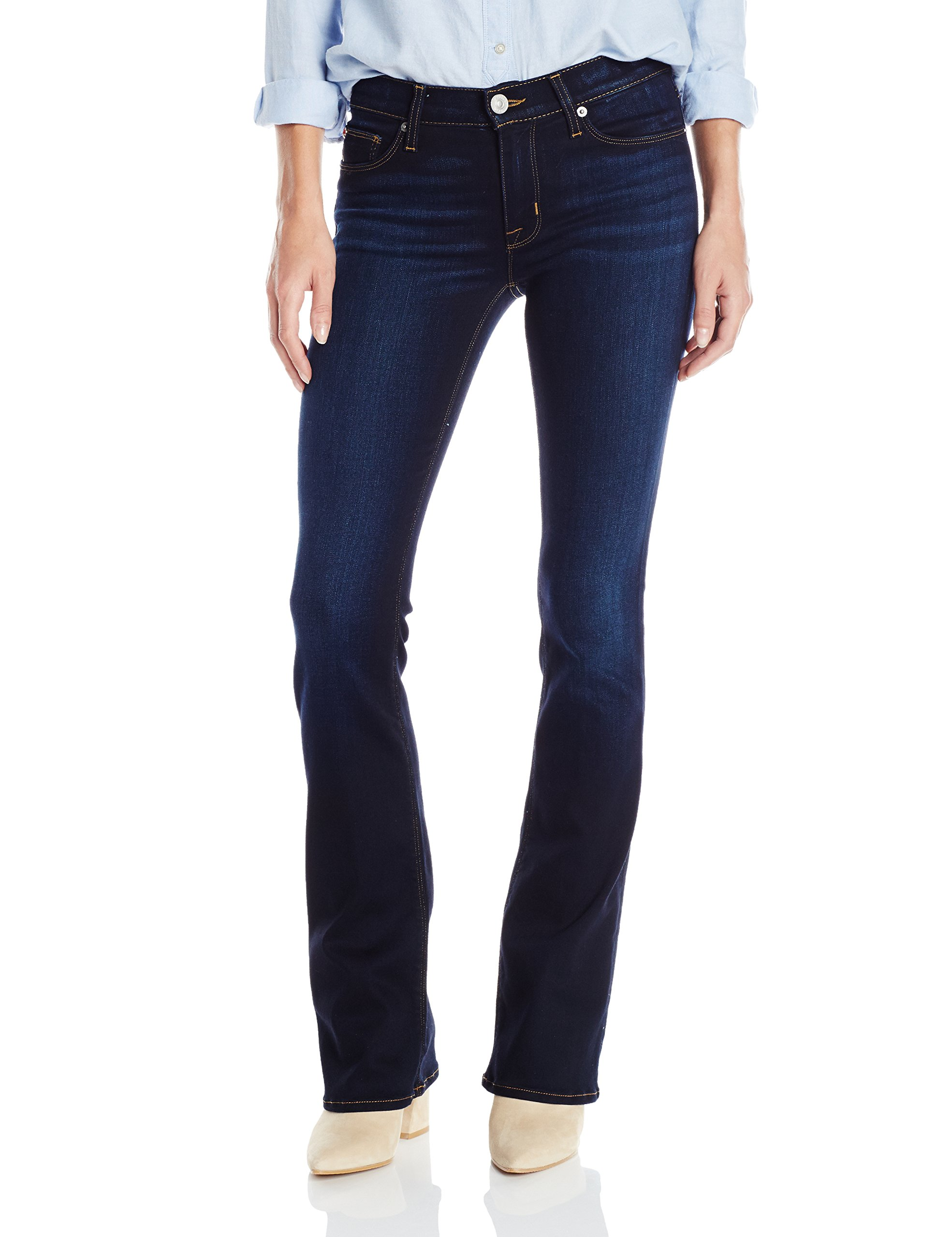 HUDSON Jeans Women's Petite Love Midrise Bootcut 5 Pocket Jeans, Redux, 28