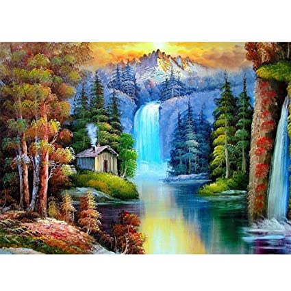 7e2497de8a Image Unavailable. Image not available for. Color: GLymg 5D DIY Diamond  Painting Full Drill Waterfall ...