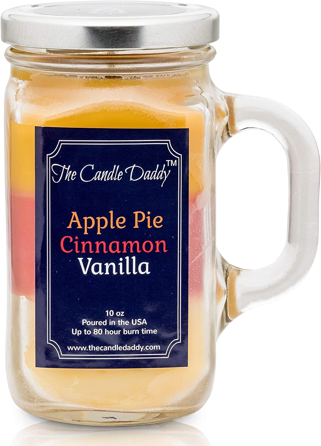 Apple Pie- Cinnamon - Vanilla Scented Candle - 10 oz 80 Hour Burn- Made in USA