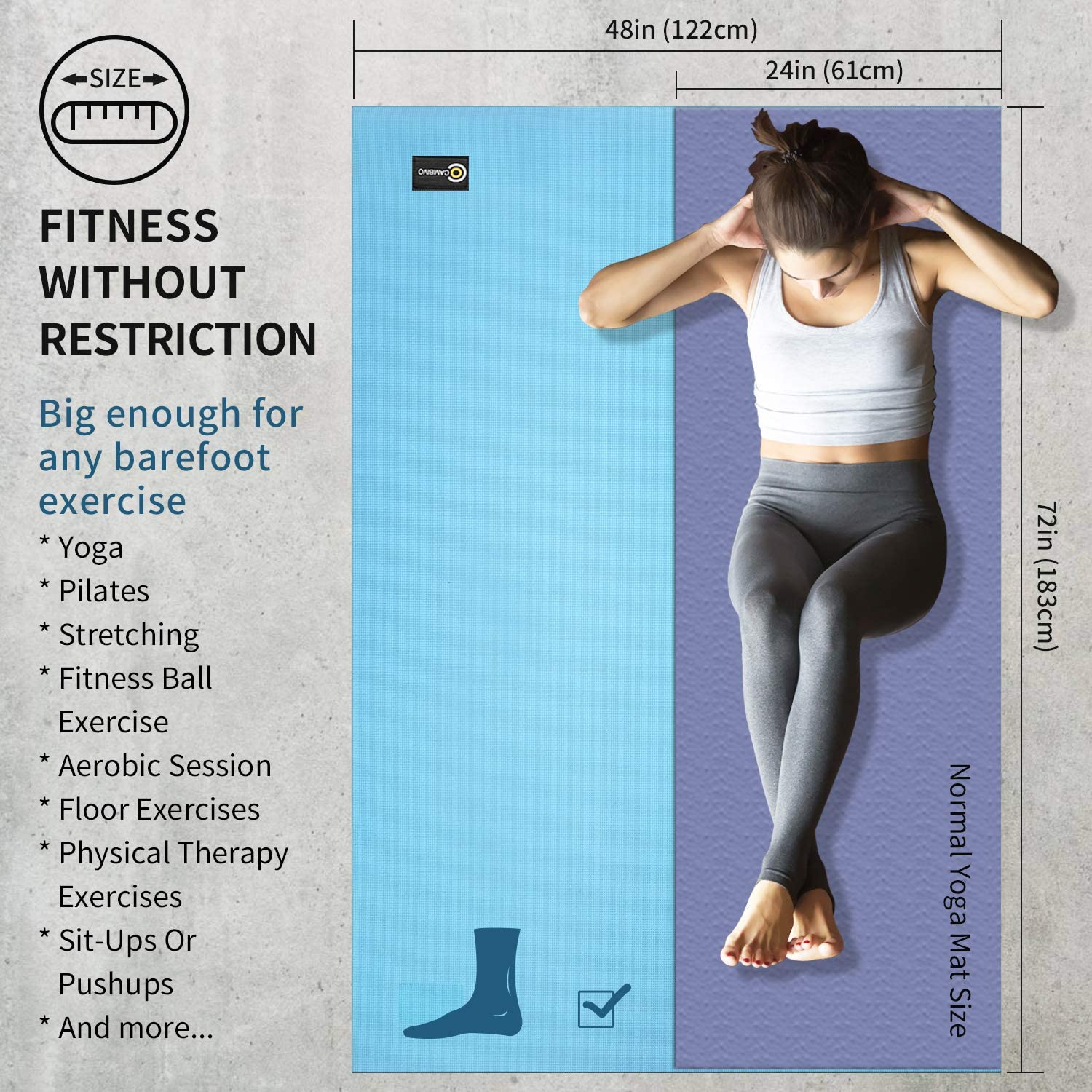 Stretching Cardio Workout Yoga Extra Thick Exercise Workout Mat 6Ft x 4Ft x 8mm Cambivo Large Yoga Mat for Home Gym