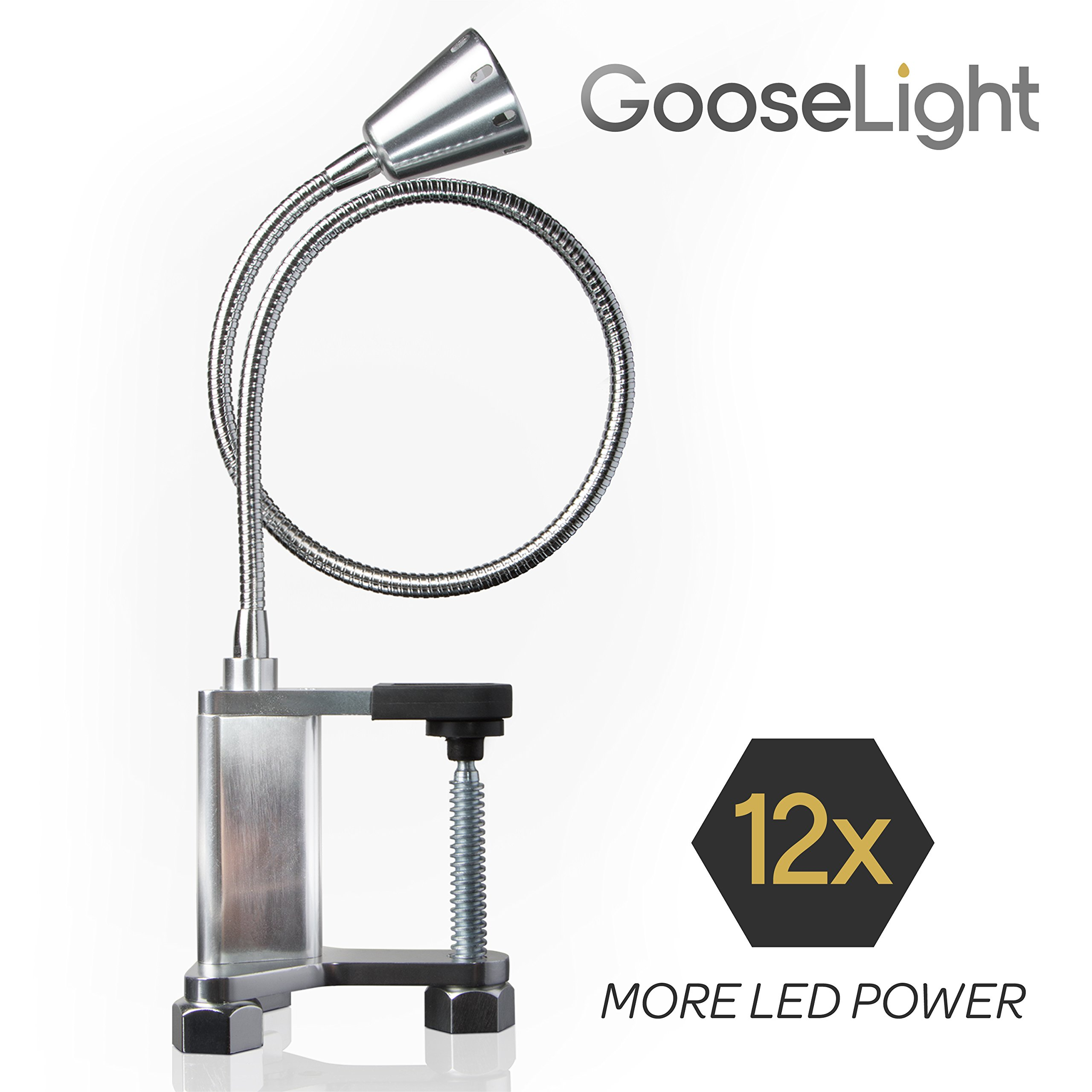 "Livin' Well Magnetic LED Clamp Light - ""GooseLight"" All Purpose Gooseneck Lamp Task Light and Patio BBQ Grill Light w/ 12 Powerful LED Lamp Bulbs"
