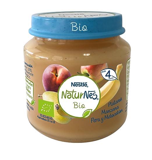 Nestlé Naturnes Bio - Puré de Plátano, Manzana, Pera y Melocotón - Puré Para