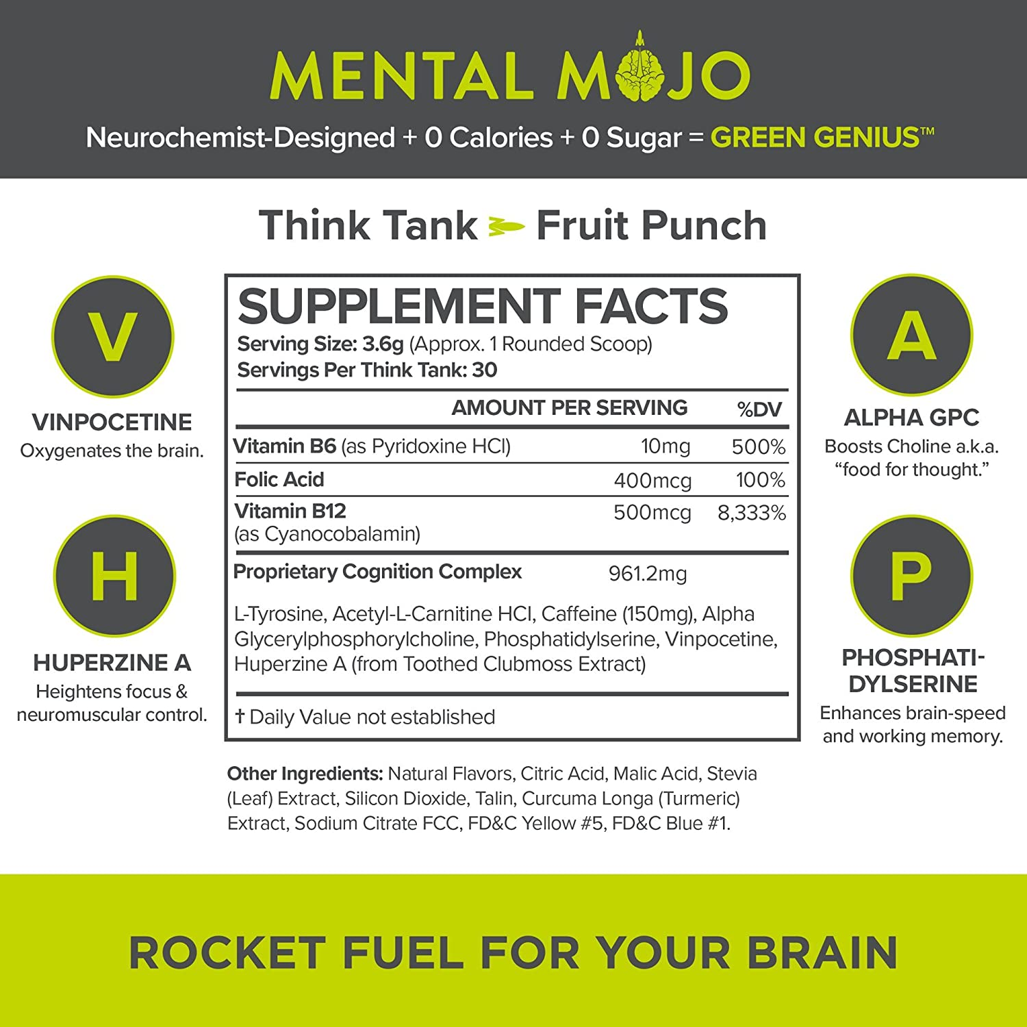 (30-Servings) Mental Mojo Nootropic Stack: Rocket Fuel For Your Brain -  Nootropic Energy Drink Mix