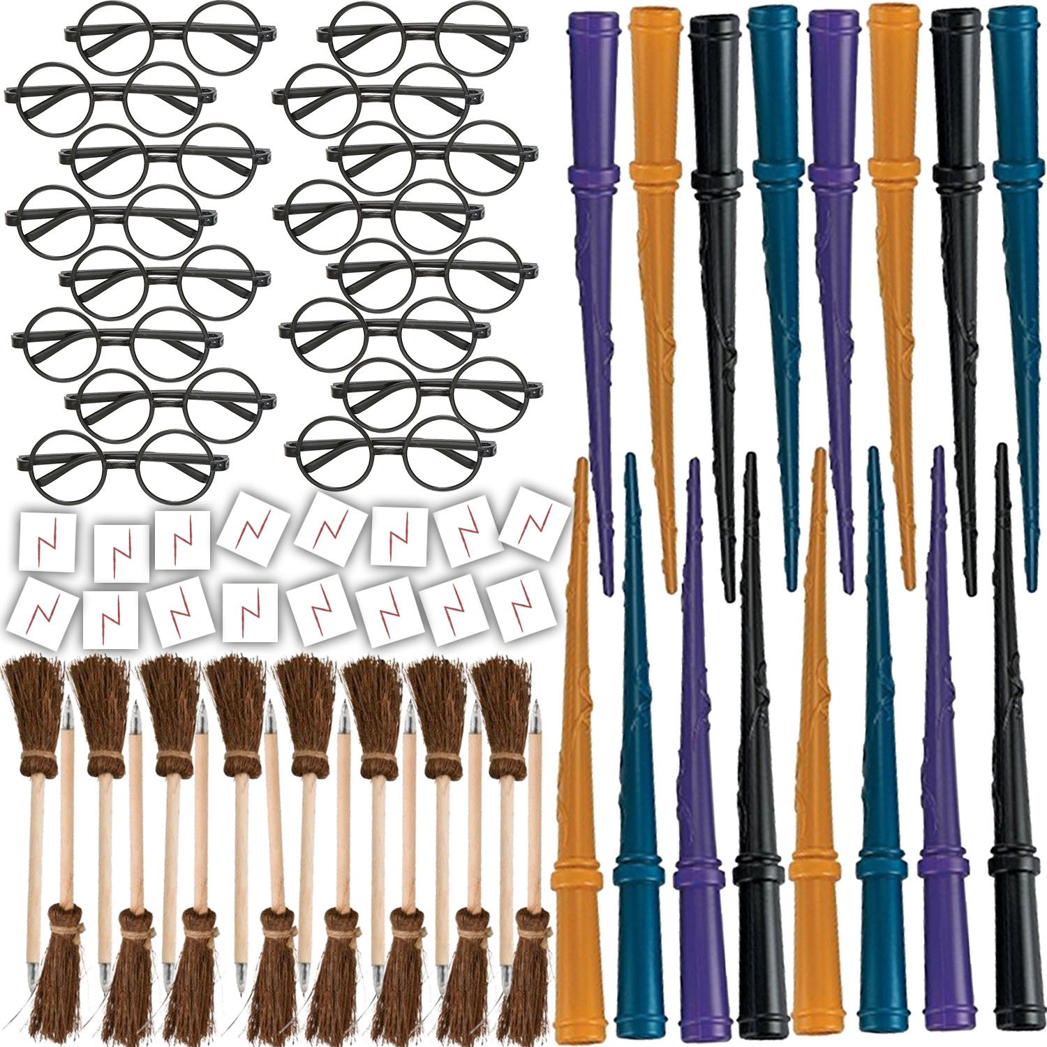 Wizard Party Favors for 16 - Includes Broom Pens, Wands, Glasses, and Lightning Scar Tattoos - Perfect for a Wizard School Theme Birthday Party (16 of each)
