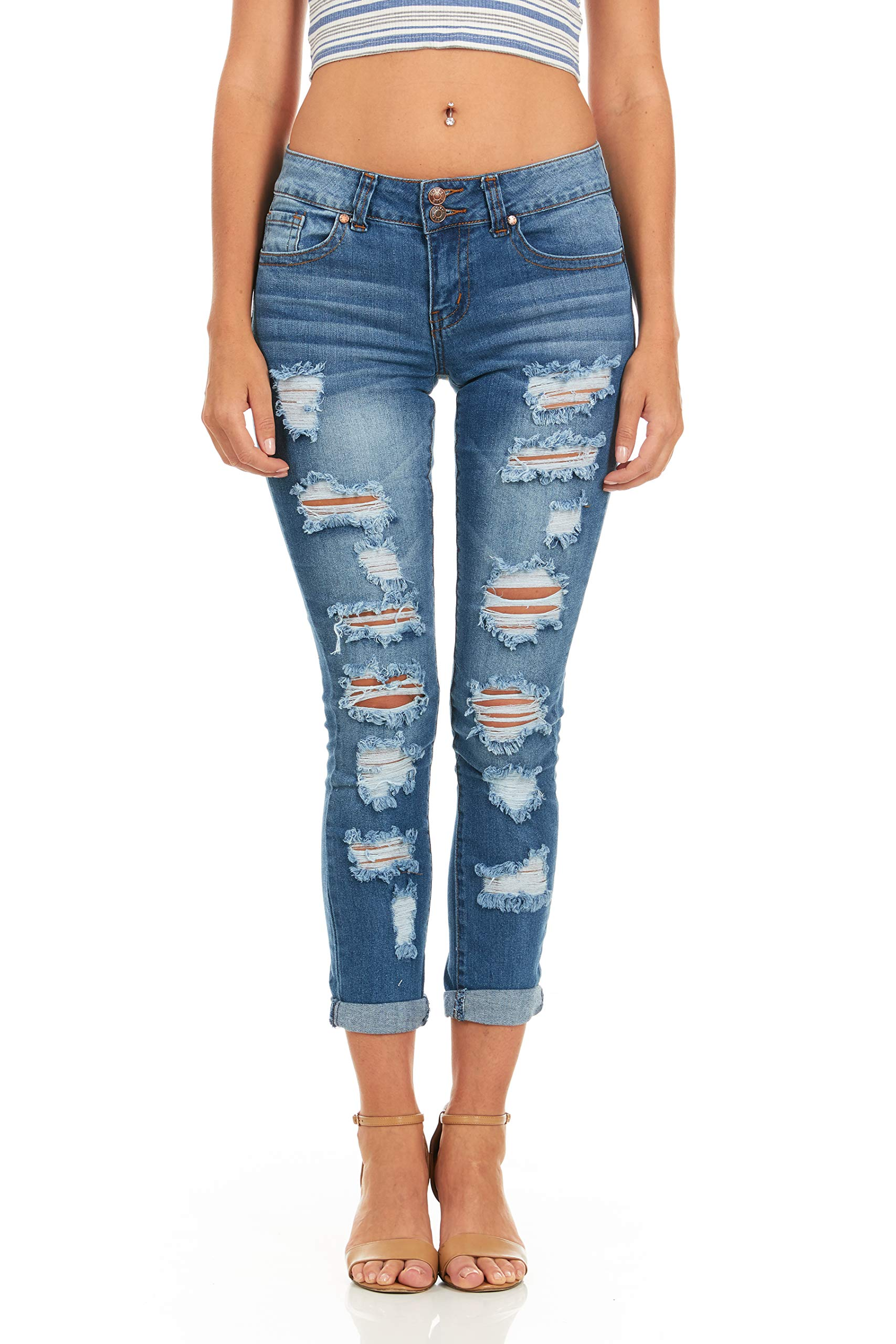 Cover Girl Skinny Ripped Jeans for Women Distressed Blue, Electric, 15 by Cover Girl (Image #1)