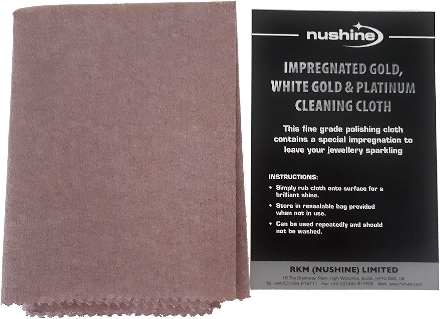 NUSHINE LARGE SILVER CLEANING CLOTH REMOVES TARNISH FROM YOUR SILVER WITH EASE