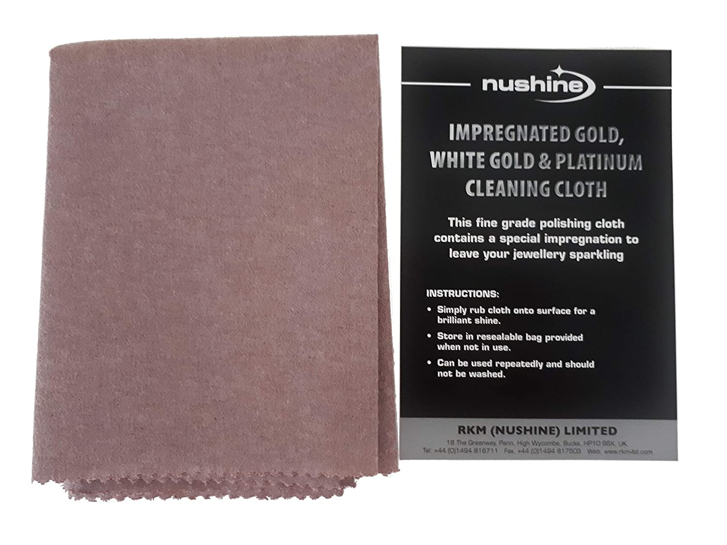 Nushine Gold, White Gold & Platinum Cleaning Cloth (LARGE 44 x 31.5cm) - Contains Special Impregnation