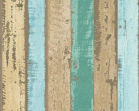 A.S Cr/éation papel pintado Authentic walls azul marr/ón verde 10,05 m x 0,53 m 302582