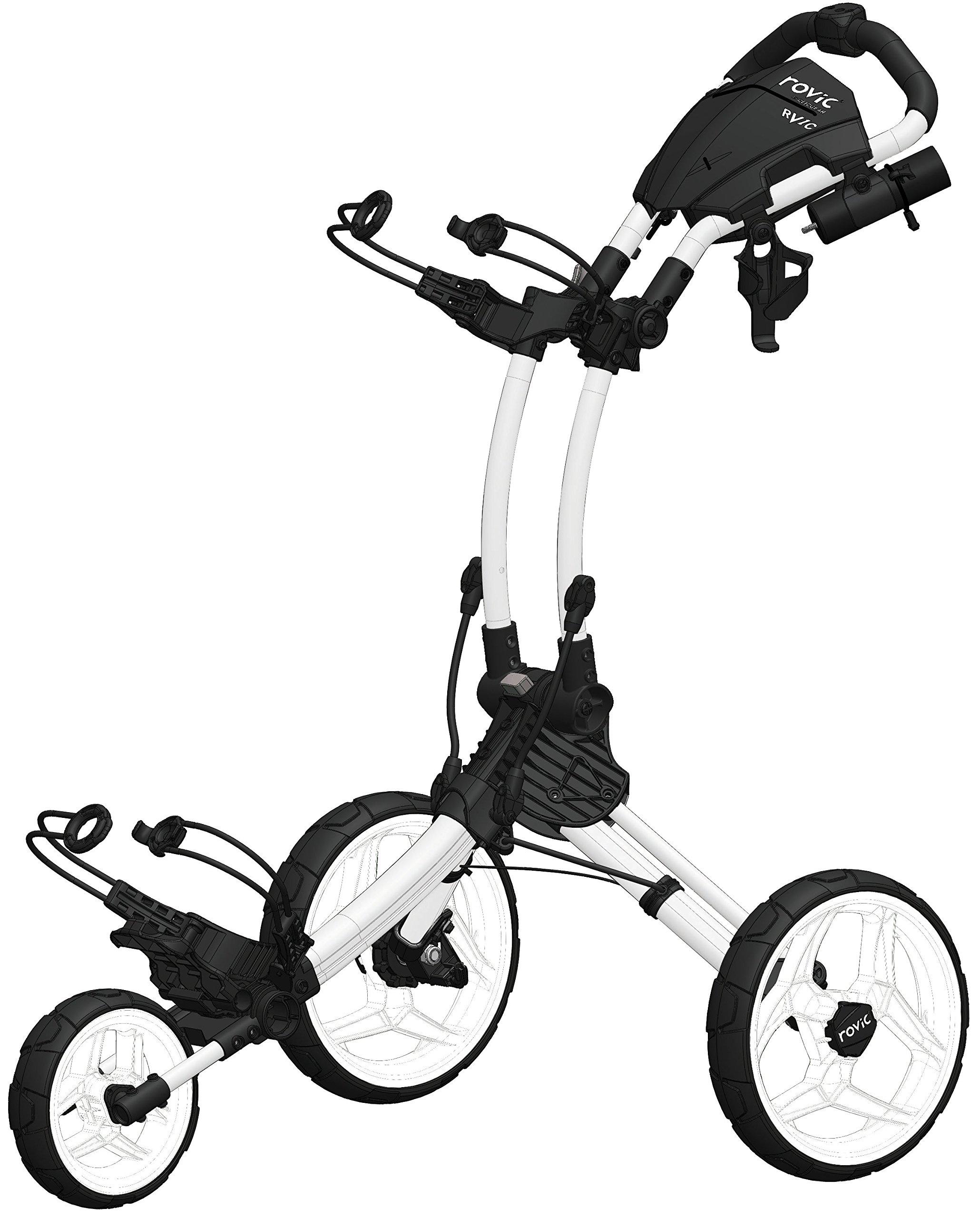 Clicgear Rovic Model RV1C | 3-Wheel Golf Push Cart (Arctic/White)