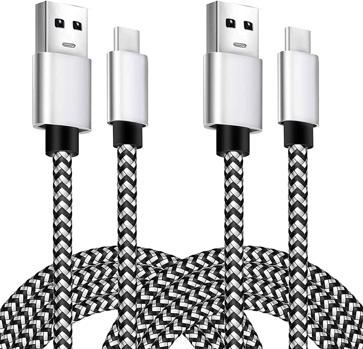 WalR 3 ft USB Type-C Data Cables for Samsung Galaxy S10 Lite Note 10 Lite 10 Pack White Flat Noodle Charger Cords