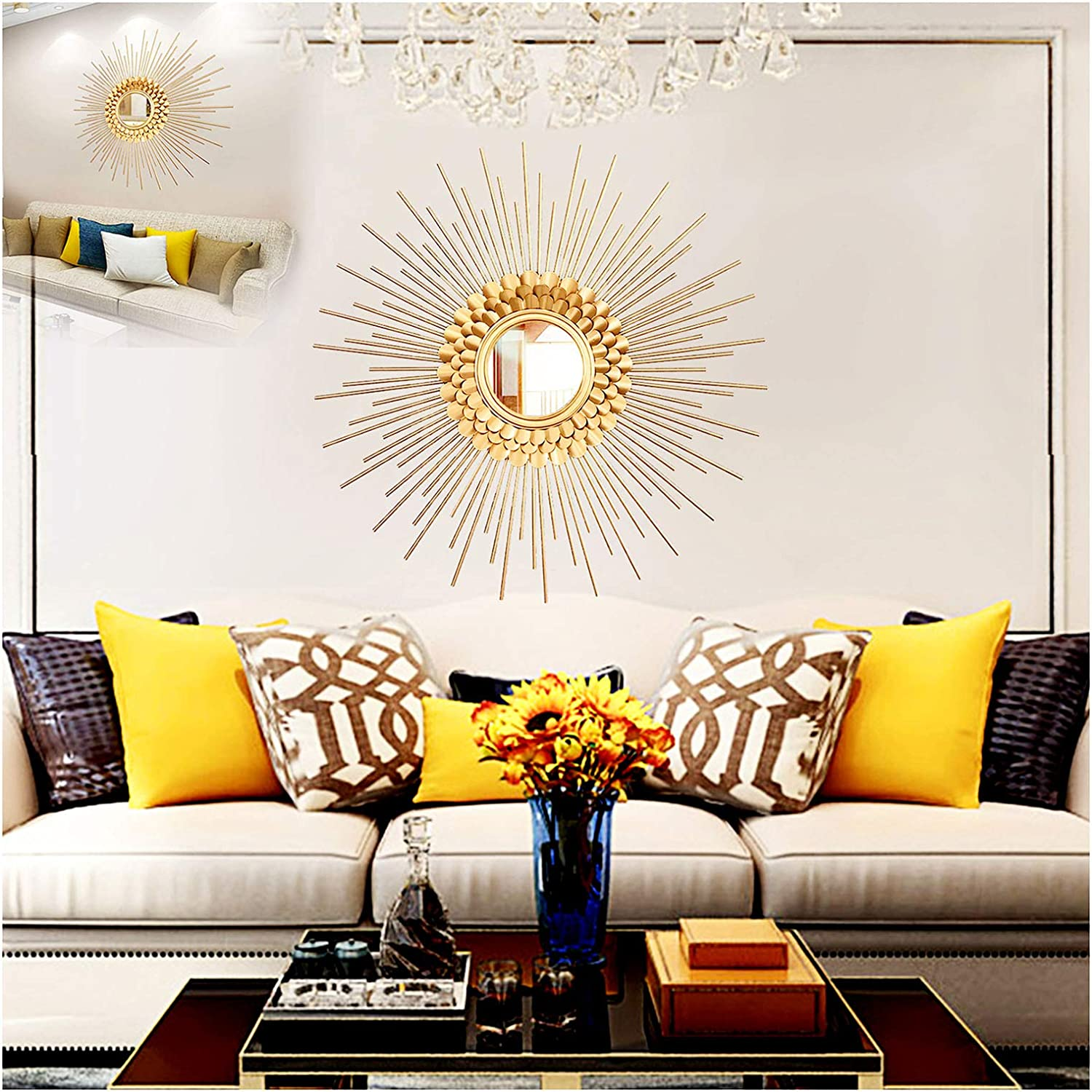 Round Wall Mirrors for Hallway and Living Room , Large Sunburst Mirror Decorative Wall Mountable Shabby Chic Home Decor Wall Mounted Mirrors ,Gold,80cm