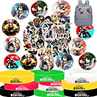 My Hero Academia Stickers Button Pins Bracelets Gift Set, MHA Party Supplies - 50 Pack Stickers, 12 Pack Button Pins, 10…
