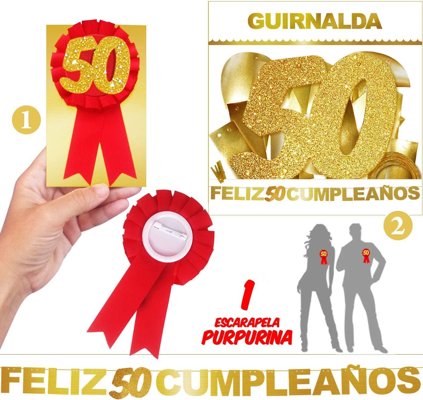 Inedit Festa - 50 Cumpleaños Escarapela Honorífica y Guirnalda ...