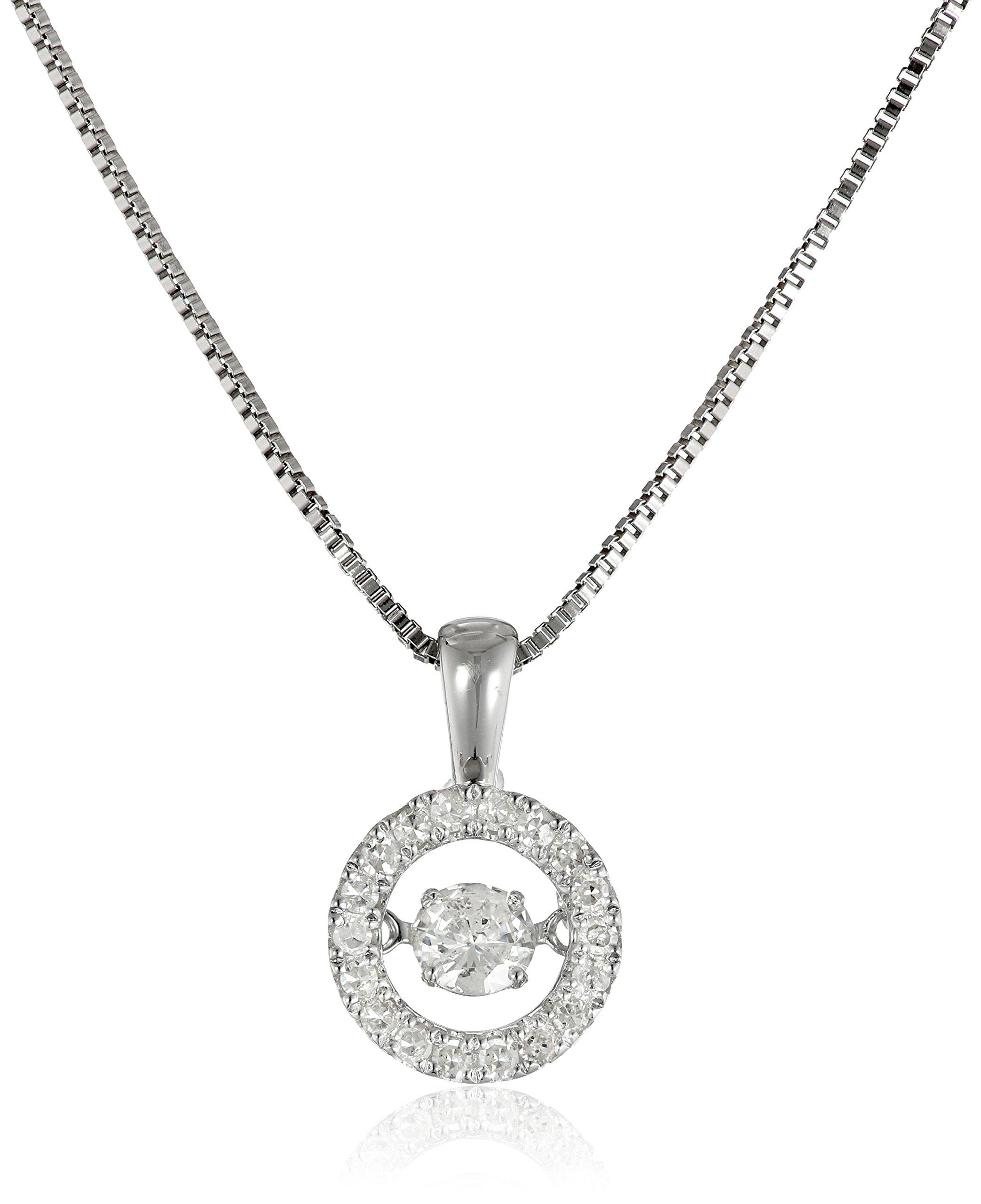 Dancing Diamond Circle Pendant Necklace (1/3cttw, I-J Color, I2-I3 Clarity), 18'' + 2'' extender
