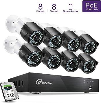 Loocam 1080P HD 4CH 8CH 2MP Surveillance Security Camera System with 1TB 2TB HDD