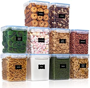 Airtight Food Storage Containers with Lids 10pcs Set 2.5L / 2.3Qt, PantryStar Air Tight Sugar and Flour Container for Pantry Organization, BPA Free Kitchen Containers for Dry Food and Baking Supplies