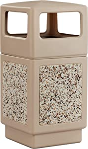 Safco Products Canmeleon Outdoor/Indoor Aggregate Panel Trash Can 9472TN, Tan, Natural Stone Panels, Outdoor/Indoor Use, 38-Gallon Capacity