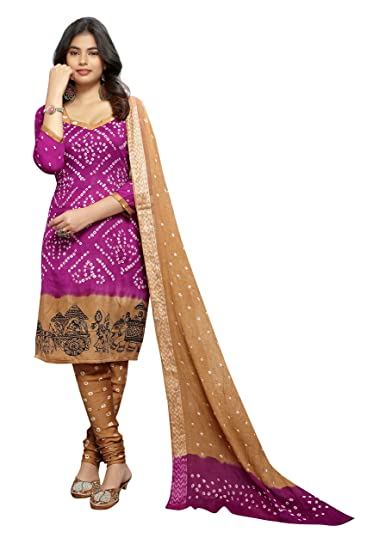 c0aa962ca5 Divine Exim Women s Traditional Cotton Tie and Dye Bandhani Salwar Suit and  Dupatta Dress Material (
